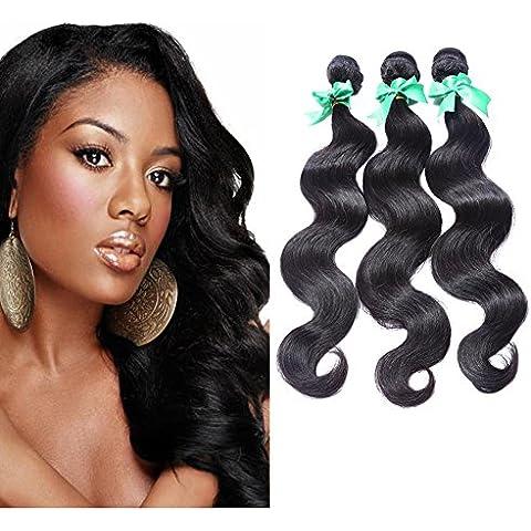 Meydlee Extension Posticci peruviana corpo Wave Mix lunghezza 3 pacchi/Pack colore naturale dei capelli estensioni , 14 16 18