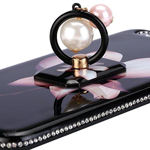 Case iPhone 6 Plus,iPhone 6S Plus Cover,Diamante Bling Glitter Lusso Cristallo Strass Morbida Rubber Full body [Rotazione Grip Ring Kickstand] con Supporto Dellanello Shock-Absorption Bumper e Anti-S Pearl-Cover-03
