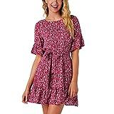 ESAILQ Damen Sommerkleider 50er Retro Damen Rockabilly Kurz Vintage Kleid Ärmellos Swing Kleid Ballkleid(M,Rot)