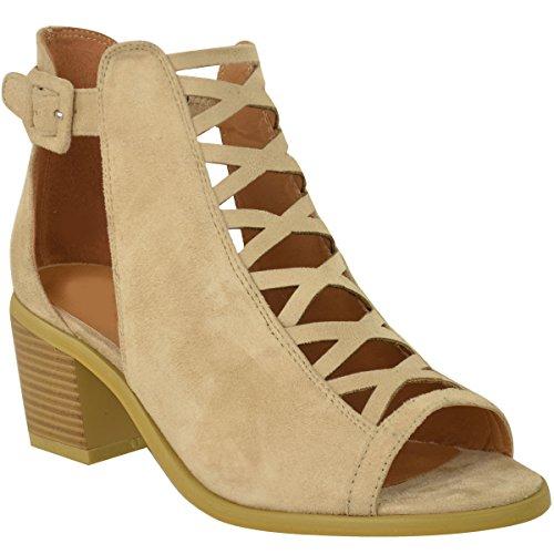 Damen FLACH Keilabsatz Sandalen SCHNÜRER Ausgeschnitten Schuhe KNÖCHEL HANDSCHLAUFE GRÖßE - Hautfarben Kunstwildleder, 40