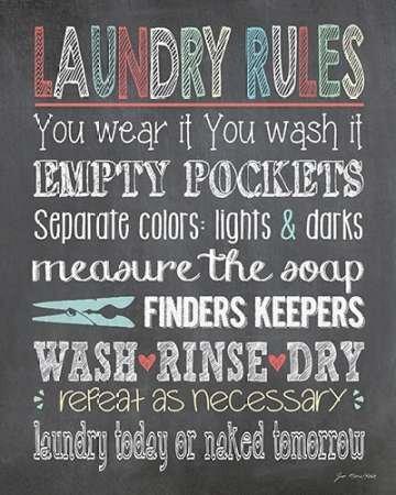 Laundry rules par Moulton, Jo -Imprimé beaux-arts sur toile - Petit (24 x 30 cms)