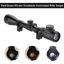 Mira Telescópica Alcance (3-9x40mm, Visual Rojo y Verde, Alta Precisión y Porcentaje de Éxitos), Negro