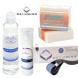 Relumins Professionelle Akne Narben Behandlung Set mit Creme Advance Titan 540 Roller - für Oberfläche und dunkle Akne Narben