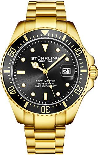 Orologio uomo stuhrling original divers - orologio sportivo pro con corona a vite e resistente all'acqua fino a 100 metri. - quadrante analogico, movimento al quarzo (nero/oro)