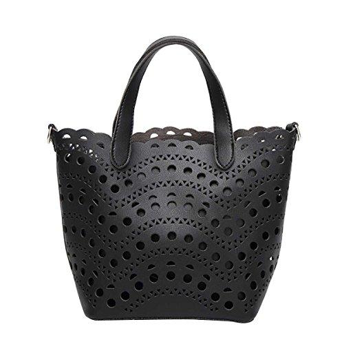 Frauen-Strand-Einkaufstasche Für Frauen Boho Chic Hohl Umhängetasche Black