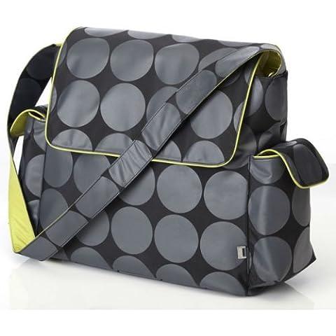OiOi - Borsa Messanger Dot Hobo per cambio pannolini, con finiture lime e accessori, colore: Carbone