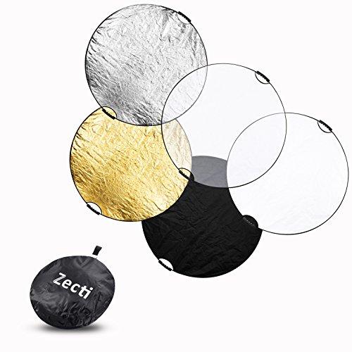 Zecti 110x110cm Einklappbarer Lichtreflektor 5-in-1 Foto Licht Reflektor mit Tasche (Durchsichtig, Silber, Gold, Weiß und Schwarz)