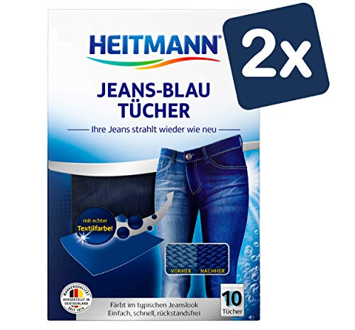 Heitmann Jeans Blau Tücher (10 Tücher, Blau), 2er Pack: Färbetücher für alte Jeans im neuen Look, Farb-Erhalt in Jeansblau beim Waschen, Rückstandsfreie Pflege gegen Verblassungen