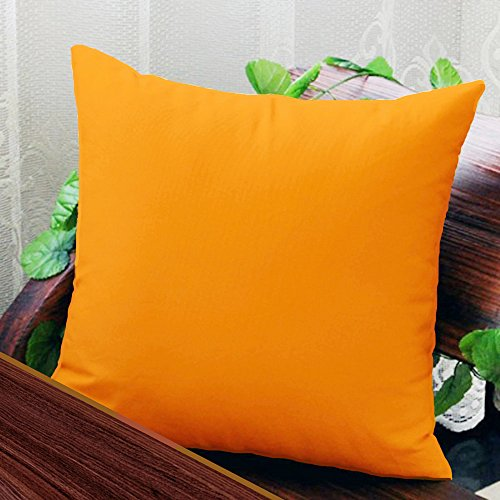 AURAVE Solid Plain Premium Cotton Cushion Cover - Orange - 16 inch x 16 inch