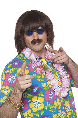 Perücke John Lennon mit Bart Herren Braun Kurzhaar Hippie - John Lennon Bart Kostüm