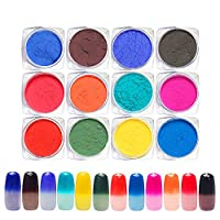 QIMEIYA 12 Color/Set Thermochromic Pigment Thermal Color Change Temperature Powder Dust Decorations Nail Art Gradient Powders