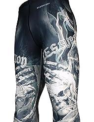 Btoperform Mens MMA corriendo Printed–Pantalones de compresión pantalones de yoga Tights [fy-109], mediano