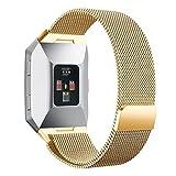 Upxiang Für Fitbit Ionic Magnetische Schlinge Lock Band Milanese Straps Edelstahl Magnet Watch Band (Gold)