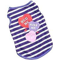 Fashion 3Candy corazón rayas perro camiseta mascota ropa transpirable Casual alta calidad Cute