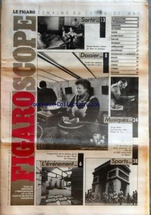 FIGARO SCOPE (LE) [No 13592] du 11/05/1988 - DINER EN MUSIQUE - LES MARCHES A PARIS - JORGE BOLET A PLEYEL - 13EME MARATHON DE PARIS - INAUGURATION DE LA MAISON DE LA NATURE AU PARC FLORAL DE VINCENNES - - CLAUDE DE VULPAIN - DE LA CHINE A CLARA par Collectif