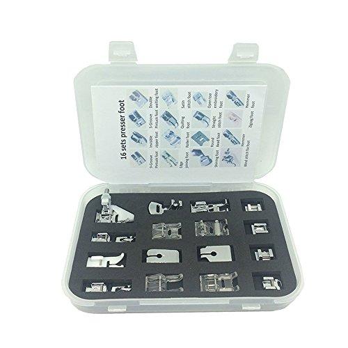 OrchidBest 16 pièces Set de machine à coudre professionnelle Kit de pieds presseurs encliquetables