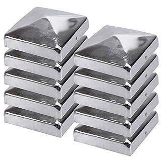 10x Pfostenkappen Pyramide Edelstahl 91 x 91 mm