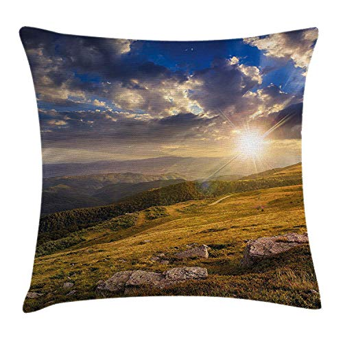 Nature Throw Pillow Cushion Cover, Mountain Hills Landscape with Bright Sun Lights on Meadow Misty Rural Panorama, Decorative Square Accent Pillow Case, 18 X 18 inches, Blue Amber Dust - Amber Kings Crown