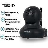 Tenvis T8601D Caméra de surveillance intérieur Full HD IP Wifi sans fil – 1080P 1920x1080 H.264 - Alerte PUSH - Vision Nocturne - Son bidirectionnel - Motorisé - Appli téléphone & Notice en français