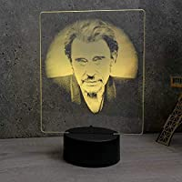 Lampe Johnny Hallyday illusion - Fabriquée en France - Lampe de table - Lampe veilleuse - Lampe d'ambiance