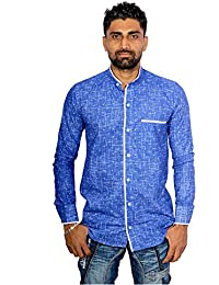 Mens Casual Blue Printed Shirt With Mandarian Collar
