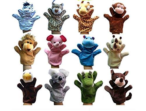 Udane Soft Puppe Puppen Spielzeug Afrikanischer Dschungel Tierpuppe Set Handpuppe Spielzeug (12 Stück)
