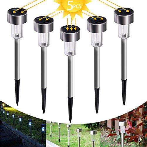 SunTop Solarleuchte, 5 Stück wasserdichte energiesparende LED Solarlampe, warmweiß, Edelstahl, ideal für Terrasse, Rasen, Garten und Wege