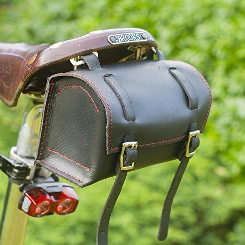 London Craftwork Classic - Sillín cuadrado para manillar de bicicleta, piel auténtica, color negro y rojo