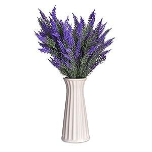 Syndecho 4 Ramos Artificiales de Flores de Lavanda para decoración del hogar o la Oficina, 7 Cabezas