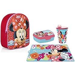 Set Zaino Zainetto Minnie Mouse Topolina in 3D Portamerenda Asilo,Scuola Materna Bambina