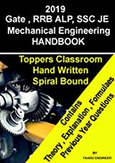 GATE / RRB ALP TECHNICIAN / SSC JE - 2019 - Mechanical Engineering HAND BOOK Made Easy IES Master Toppers Classroom HAND WRITTEN SHORT NOTES