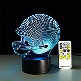 LT&NT 3d lampes illusions optiques, Nuit de chapeau de rugby lampes de table de bureau léger bluetooth speaker base led 5 couleurs changent câble usb kids enfants jouet étonnant noël cadeaux décoration à la maison -Haut-parleur Bluetooth