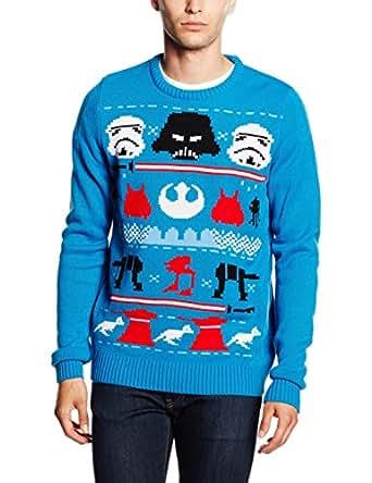 star wars herren pullover christmas darth knit blau blau. Black Bedroom Furniture Sets. Home Design Ideas
