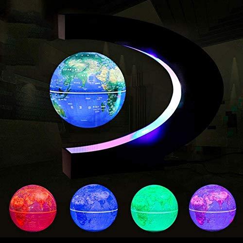 JJDSN O-Type Magnetic Suspension Globe, 6 Zoll Farbe LED leuchtet Anti-Schwerkraft rotierende Weltkarte Kindergeschenke Home Decoration, blau