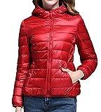 MYMYU Piumino da Donna - Cappotto per Viaggi, Escursioni, Arrampicata, Sci, Sport Invernali e Invernali (Rosso, L)