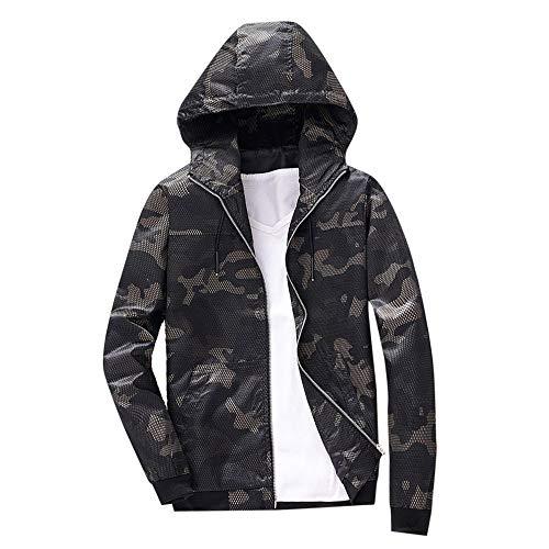 Xmiral Herren Camouflage Hoodie Sweatshirt Herbst Winter Print Langarm-Jacke (M,Schwarz)