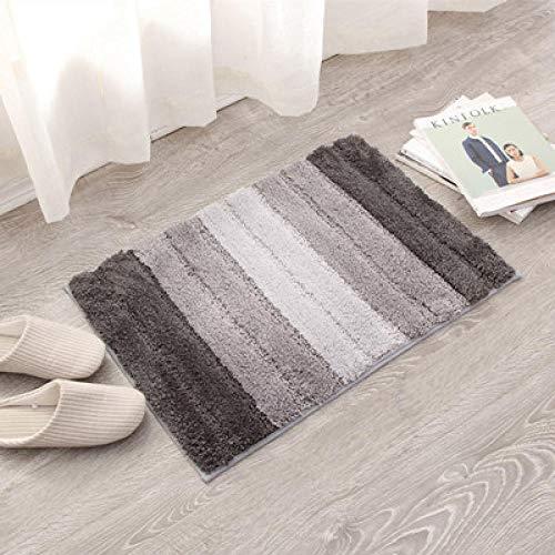 Shaggy Für Flur Gestreifte Fläche Für Schlafzimmer Teppich Anti Slip Für Küche Bad Bodenmatte Grau und Weiß,45x65cm (Haut-farbe-öl-pastell)