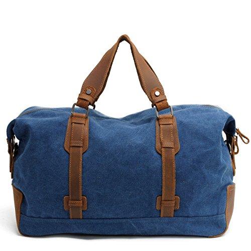 MojiDecor Vintage Schultertasche Umhängetasche Canvas Leder Unisex Handgepäck Reisetasche Arbeitstasche Sporttasche Weekender Tasche für Reise am Wochenend Urlaub (Dunkel Grau) Blau