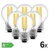 LED Filament Lampe E27, 4W LED Edison G45 Leuchtmittel 470 Lumen, ersetzt 40W Glühfadenlampe, 2700K Warmweiß Glühbirne, 6er Pack [Energieklasse A++]
