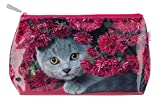 "'Cats Eye Wash ""Cat With Flowers Make Up Bag Cosmetic Bag Wash Bag Travel CF4 W"
