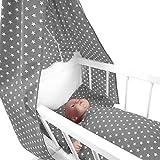 Sugarapple 4-teiliges Set für Puppenwiegen bestehend aus Himmel, Kissen, Bettdecke, Matratze aus Baumwolle, grau Sterne weiß