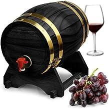 Dispensador de barril de vino de madera de pino negro (5L, Estilo Vintage Mesa Dispensador de vino