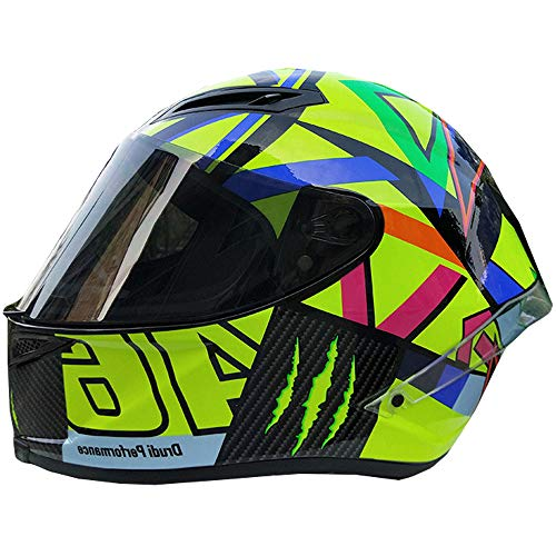 CCtoukui Mode Sonne und Mond Roller Motocross Helm, Männer und Frauen Lokomotivrennen Mountainbike ATV Karting Flug Downhill Integralhelm, DOT Certified Helm,M:55~57cm