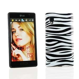 Kit Me Out TPU-Gel-Hülle für LG Optimus L9 P760 - Schwarz, Weiß Zebrastreifen