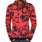 SEWORLD Sport Herren Mode Freizeit Oberteile Bluse Sommer Herbst Einzigartig Herren Winter Camouflage mit Kapuze Sweatshirt Outwear Tops Bluse(Rot,EU-52/CN-XL)