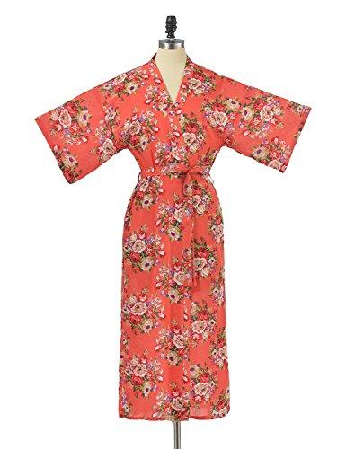 Remedios Floral Kimono Robes de demoiselle d'honneur de soir¨¦e de mariage des robes de chambre de la femme Corail(longue)