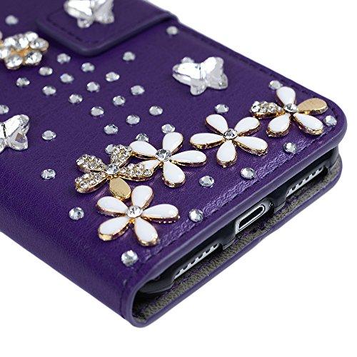 Mavis's Diary iPhone 7 (4,7 Zoll) Case Schwarz Flipcase Holster Handmade 3D Muster Rosa Lila Schmetterling Diamant Blumen Tasche PU Ledercase Cover Hüllen Schutzhülle Scratch Bumper Fall Euit Bookstyl Lila-1