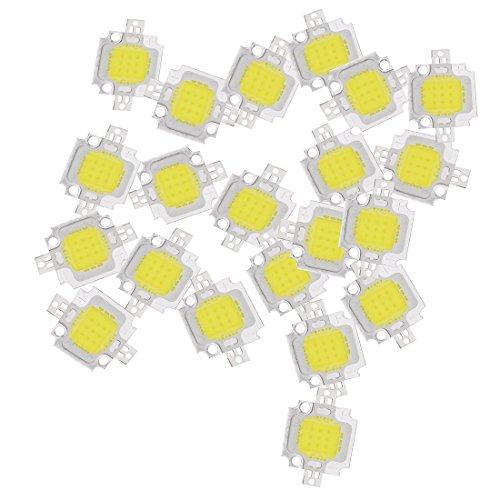 LED lampe - TOOGOO(R) 20 pcs 10W LED blanc pur Haute puissance 1100LM LED lampe SMD puce ampoule ampoule DC 9-12V