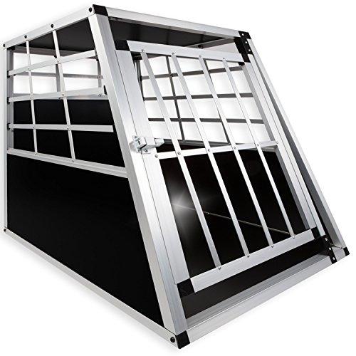 LovPet® Alu Hundebox Alubox Hundetransportbox ✓ Transportbox ✓ Reisebox ✓ Haustiere | Stabil | Größe: L | Farbe: Schwarz / Silber