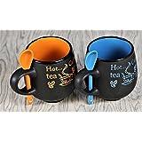 Cappuccino Black Coffee Mug (Set Of 2)- Orange And Blue